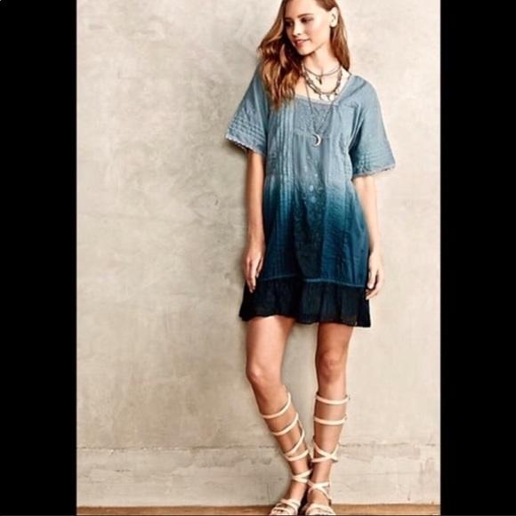 59dac00bc6aa Anthropologie Dresses | Anthro Ocean Dipped Tunic Dress Blue Xs Nwt ...